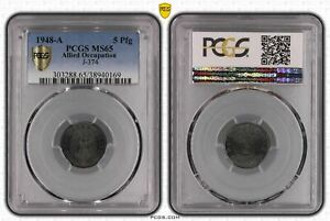 Allied Occupation 5 Pfennig 1948 A PCGS Certified PCGS MS65 50905