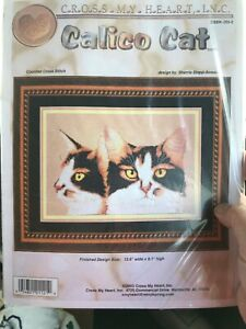 Calico-Cat-Counted-Aida-Cross-Stitch-Kit-Cross-My-Heart-Retired-13-6-X-9-1