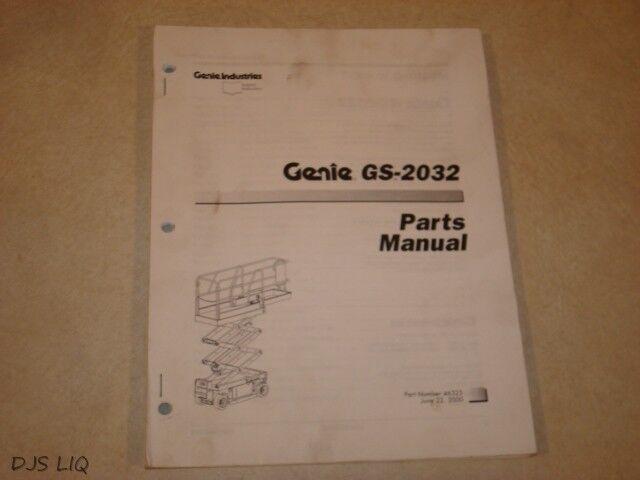 GENIE GS-2032 AERIAL SCISSOR LIFT PARTS MANUAL NO. 46325 SY620