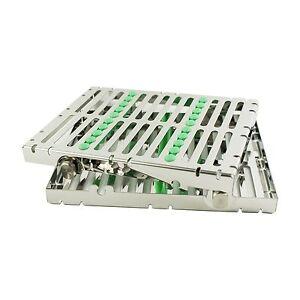 Dental-Instrument-Autoclave-Sterilization-Cassette-Tray-Racks-Box-10-Ins-Green
