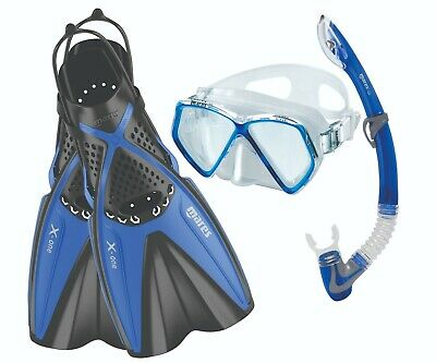 Mares X-One Pirate Junior Mask and Fins Snorkeling Dive Set XS-S Blue 410759