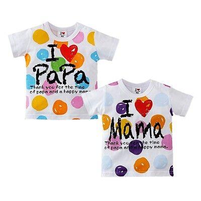 Unisex Niños Bebé Niña Candy Punto I Love Mamá Papá De Manga Corta Suéter