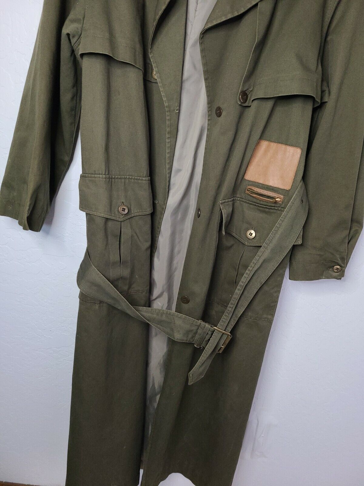 Classic Military Style Trench Coat, Olive Army Gr… - image 2