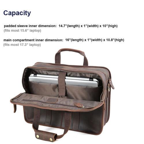 """Men/'s 17.3/"""" Laptop Briefcase Leather Messenger Shoulder Bag Business Travel Tote"""