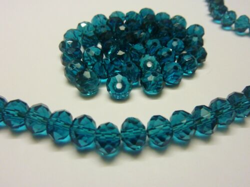 70 pce Cyan Blue Faceted Crystal Cut Abacus Glass Beads 8mm x 6mm