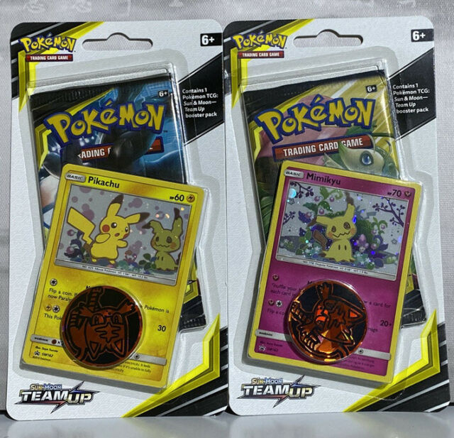 Pokemon TCG Sun&Moon - 'Team Up' Checklane Blister Set! Pikachu + Mimikyu.