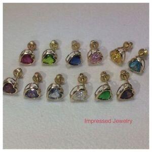 14k Yellow Gold Bezel Heart Birthstone Baby Screw Back Stud Earrings 4mm