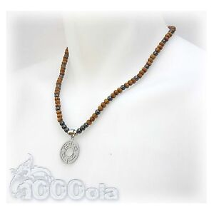 New Style Collier Homme Pendentif acier inox/inoxydable perles hématite bois
