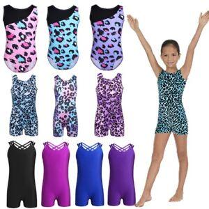 Girls-Kids-Leopard-Ballet-Gymnastics-Leotard-Athletic-Unitard-Dancewear-Biketard