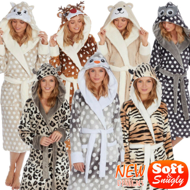 Ladies 3D Animal Soft Hooded Fleece Bath Robe Dressing Gown