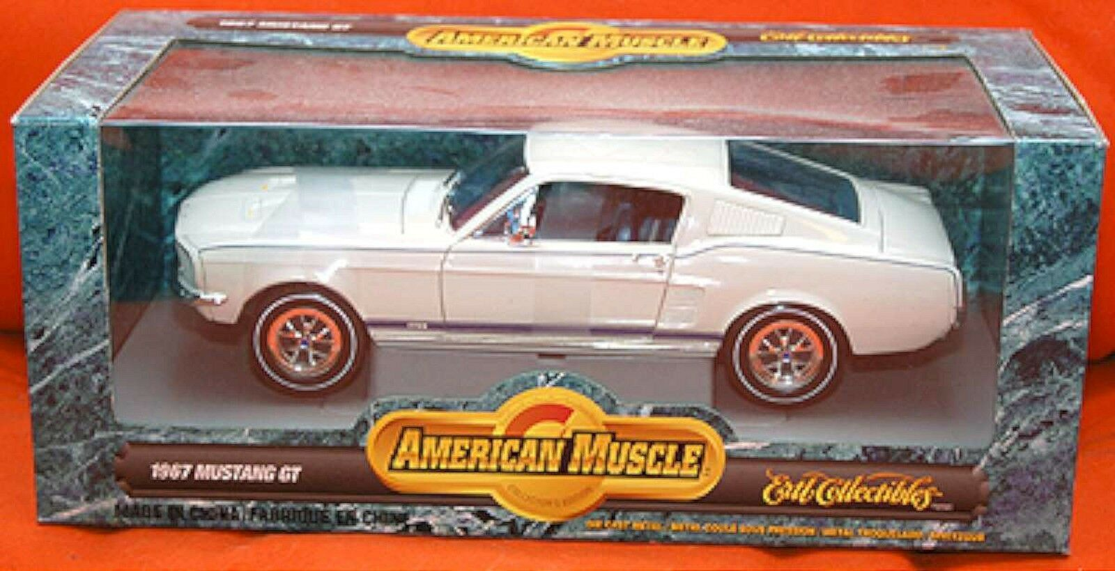ERTL 1 18 1967 Ford Mustang Mustang Mustang GT Wimbledon WHITE Car 7294 American Muscle '67 NEW 11716a