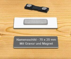 Namensschild Ansteckschild mit Magnet und Gravur 70 x 20 mm gold gebürstet