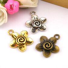 8Pcs Tibetan Silver,Antiqued Gold,Bronze Flower Branch Charm Pendants M1209