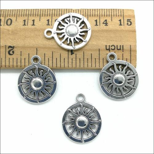 Bulk 50pcs Sun Tibetan Silver Charms Pendants for Jewelry Making DIY 20*16mm