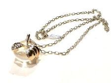 Bijou alliage argenté collier sautoir pomme lucite transparente de Nina Ricci