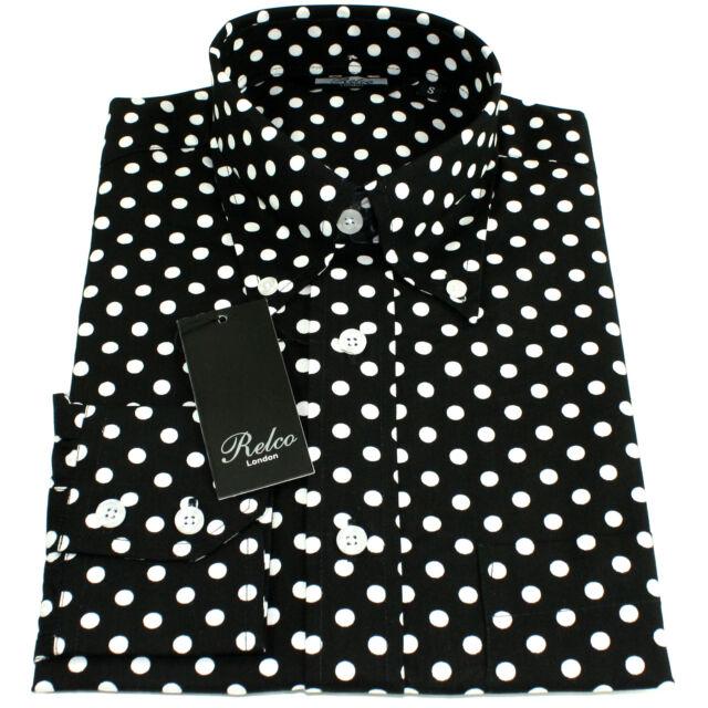 06d65babe1c29e Relco Mens Black   White Polka Dot Long Sleeved Shirt Mod Skin Retro Indie  60s