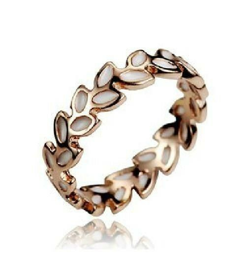 18K GP Gold Plated Jewelry leaves Ring Size : 5.5 6 7 8 9