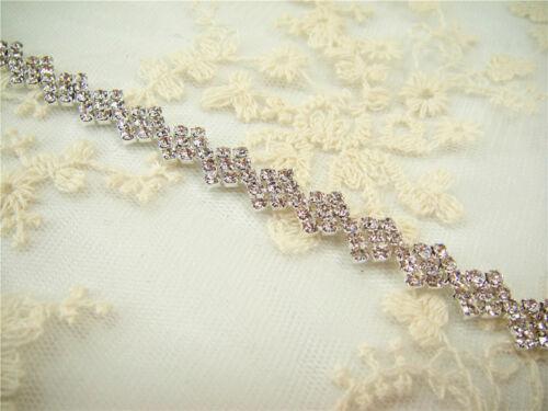 Vestido de boda apliques con cuentas cadena Motif Cristal Nupcial Apliques Diamante Trim