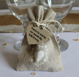 Image Is Loading Rustic Wedding Favour Bags Natural Hessian Lace X