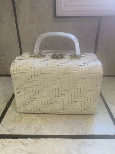 1960s Lesco Lona Vintage Box Vinyl Wicker White Pu