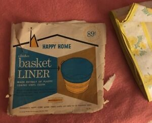 Vintage-WOOLWORTH-039-S-Happy-Home-CLOTHES-BASKET-LINER-unused-in-pkg