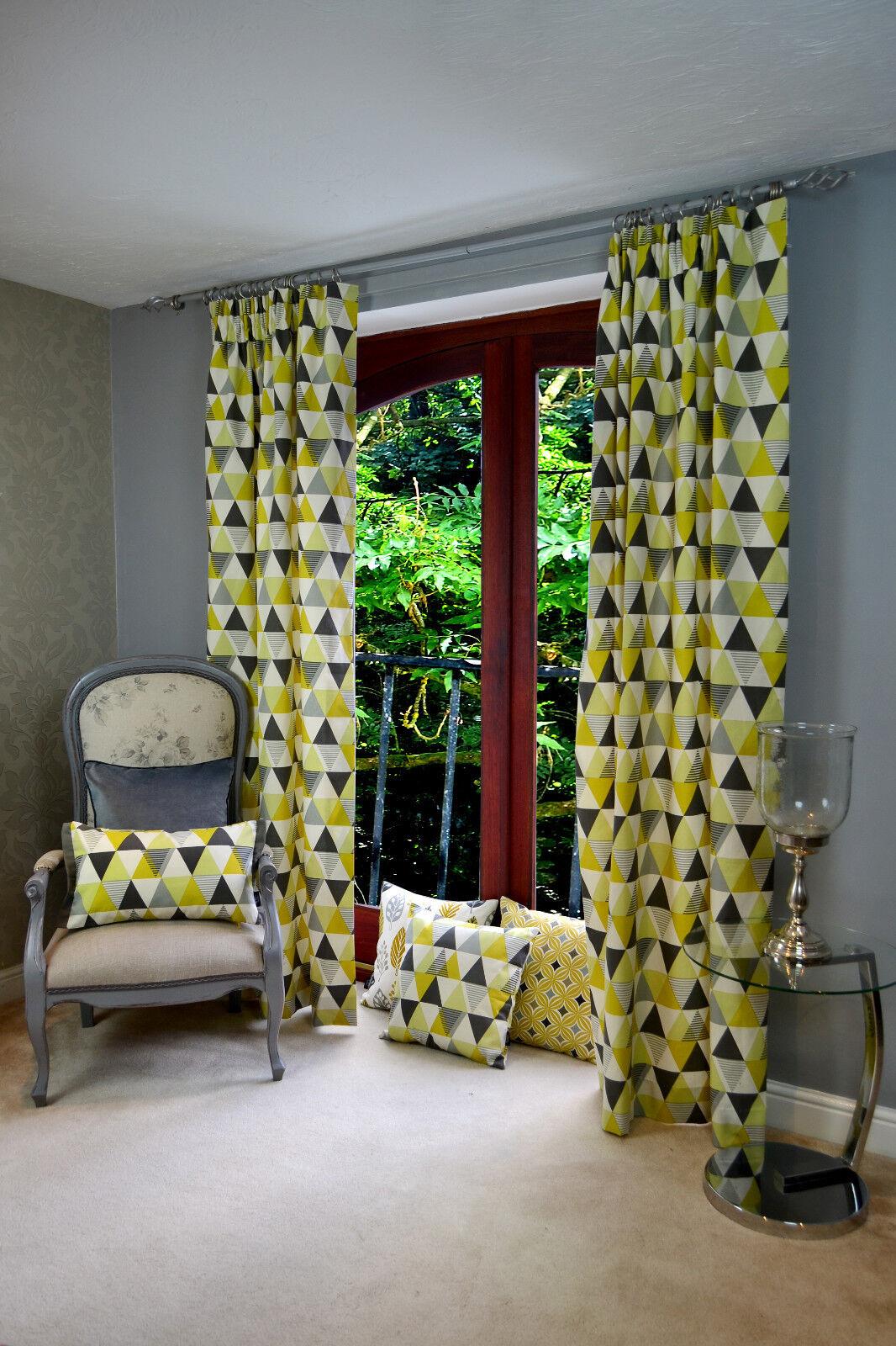 McAlister Textiles Vita Giallo & Grigio Geometrica Triangolo Cotone Curtain coppia