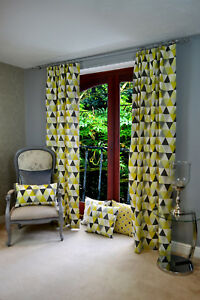 Image Is Loading McAlister Textiles Vita Ochre Yellow Triangle Geometric Print