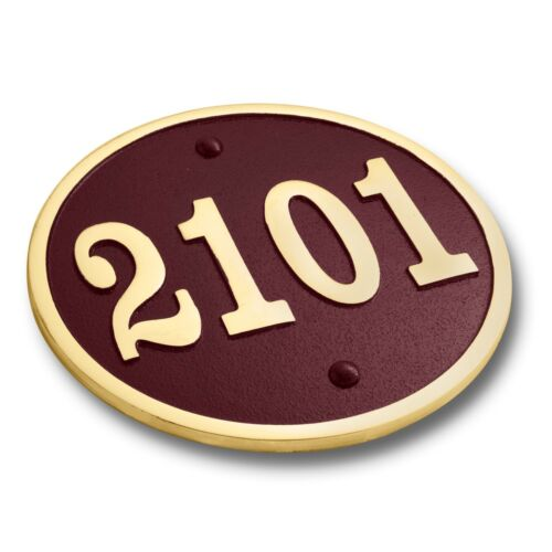 Custom house number circular address plaque in solid metal Colours Available