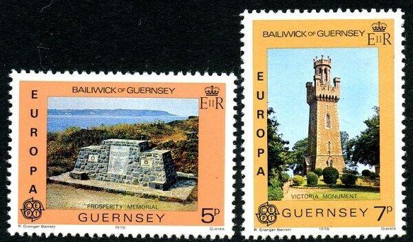 100% Vrai Guernesey 1978 Europa Monuments Paire De Timbres Commémoratifs Neuf Sans Charnière (g) Moderne Et EléGant à La Mode