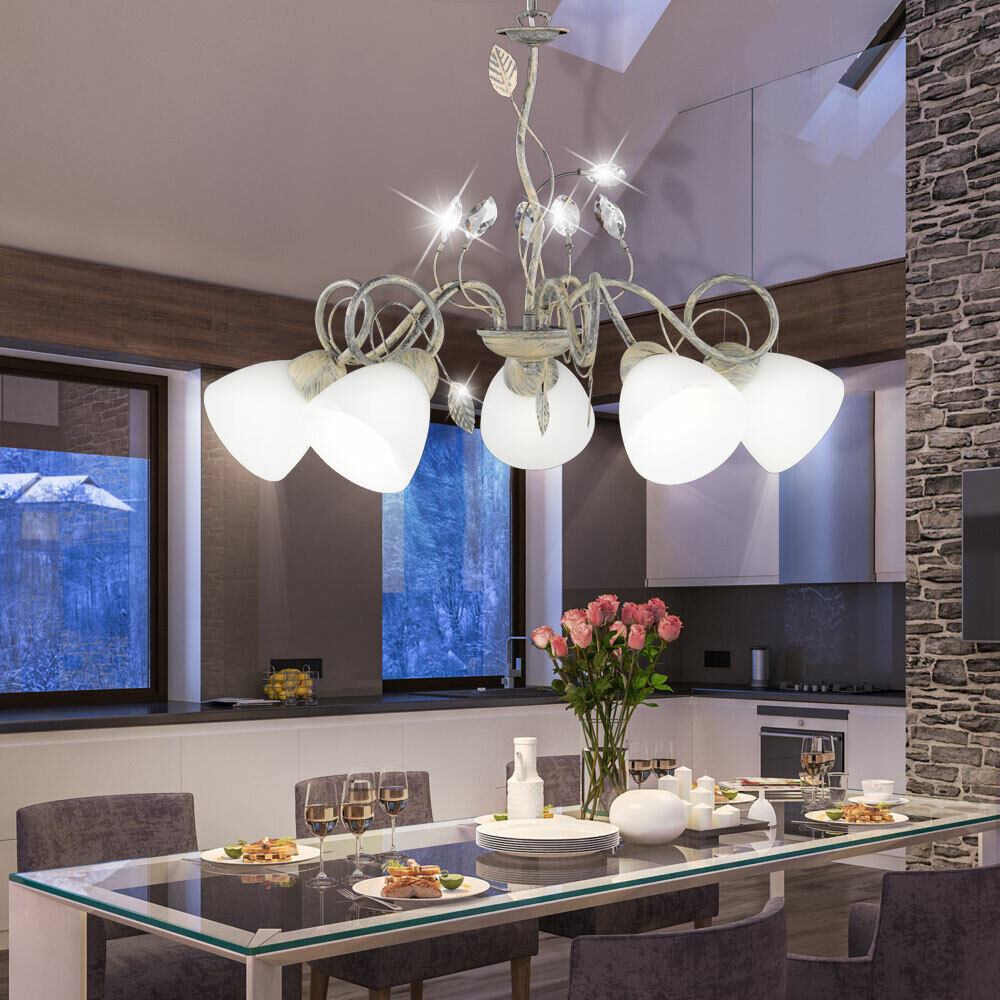LED Glas Strahler Hänge Lampe Wohn Zimmer Decken Pendel Lüster antik Living-XXL