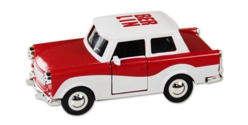 Trabi Trabant Berlin rot-weiß,Modellauto DDR Metall 12 cm,NEU