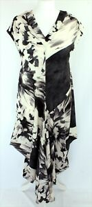 Chesca-Draped-Lagenlook-Paint-Cap-Sleeve-Black-Ivory-Long-Dress-1-UK-12-14