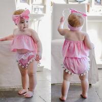 Newborn Baby Girls Sleeveless Tops+ Shorts Pants Headband 3PCS Outfits Clothes