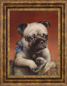"Old Master Art Portrait Animal Young Pug Oil Painting Dog on Canvas 20""x24"""