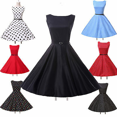 Free Belts+PINUP Vintage Retro Swing 1950s Housewife Prom party Dress