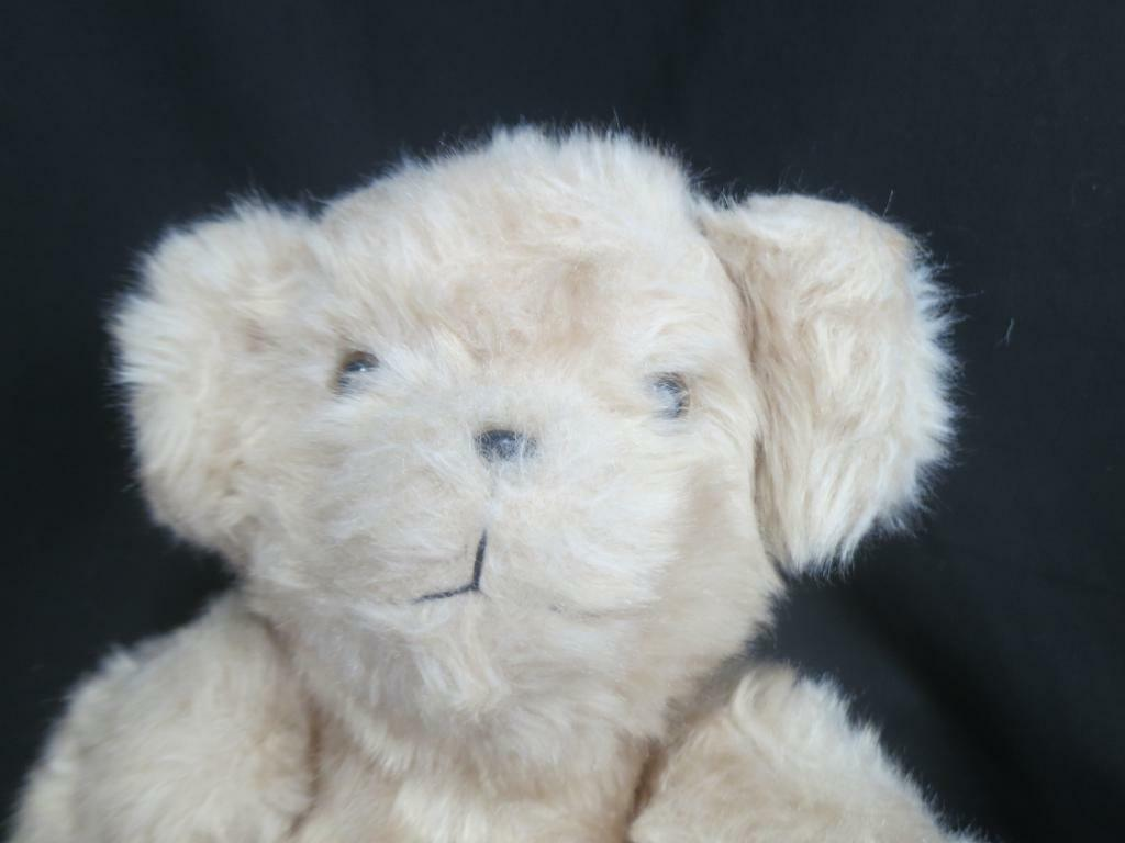 BIG VINTAGE SHAGGY TAN GLASS EYES TEDDY BEAR CORDUROY FEET PAWS JOINTED PLUSH