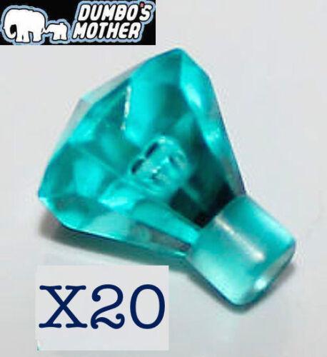 100/% LEGO 20 Transparent Light Blue 1x1 Jewel Rock Gem Crystal Diamond NEW