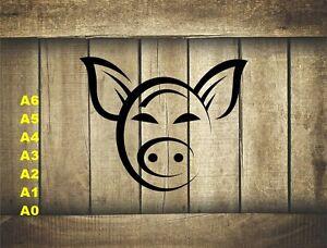 Stylized-Pig-Head-Stencil-350-micron-Mylar-not-thin-stuff-Farm015