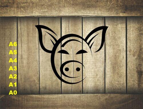 Stylized Pig Head Stencil 350 micron Mylar not thin stuff#Farm015