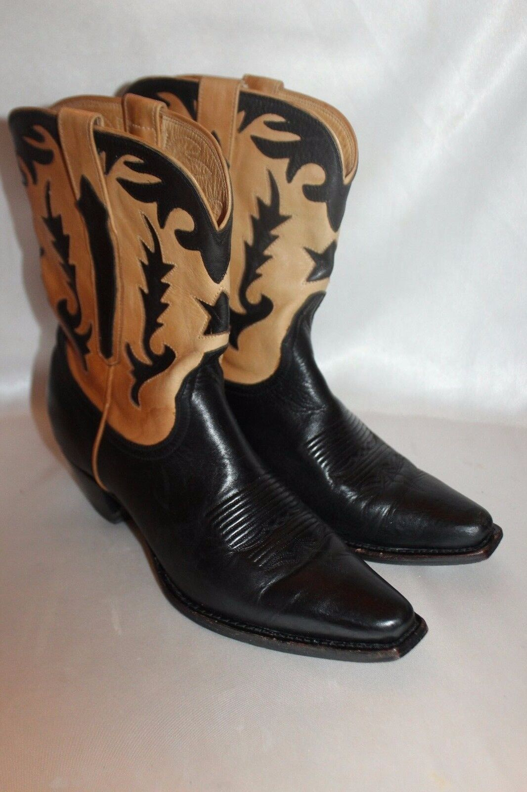 LUCCHESE CHARLIE 1 HORSE Black Tan Calf Leather Leather Leather Western Cowboy Boots Sz 7 Exc 1ca2e5