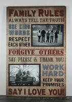 Rustic Handmade Wood Family Rules 4 X 6 Picture Frame Photo Sign Home Decor 1041