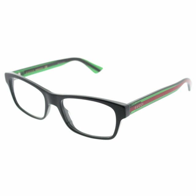 5c5b22a379d Gucci Gg0006o Optical Frame 002 Black Green Transparent 53 Mm for ...