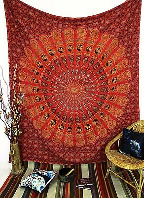 Mandala Wall Hanging Indian Cotton Tapestry Full Size Red Decorr Throw Bedspread