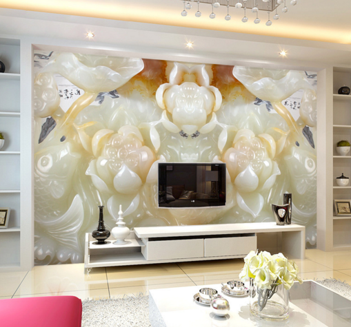3D Lotus Carps Jade 88 Wall Paper Murals Wall Print Wall Wallpaper Mural AU Kyra