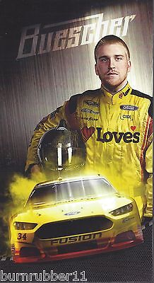 """2016 CHRIS BUESCHER /""""LOVES TRAVEL STOP W//CAP/"""" #34 NASCAR SPRINT CUP POSTCARD"""