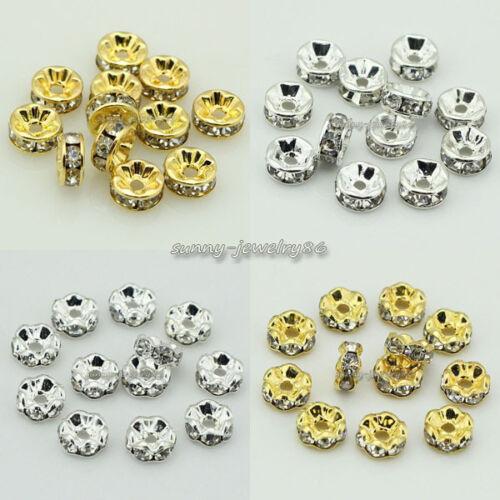 8 mm 10 mm 6 mm 100pcs droite//ondulés Blotter Cristal Strass Spacer Beads 4 mm