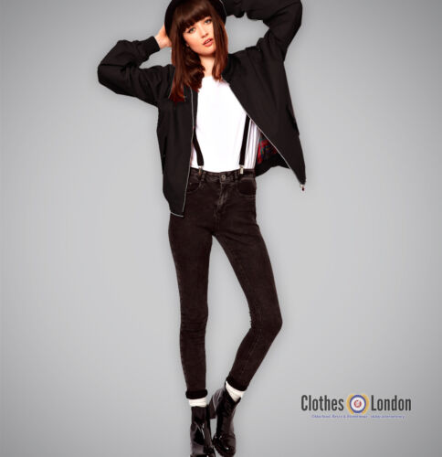 Marke POP BOUTIQUE Mod Damen Jacke Harrington Schwarz Schwarz England Style