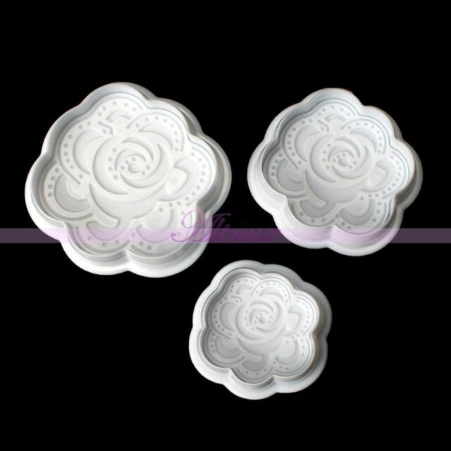 3Pcs Fondant Cake Cutter Cookie Rose Stencil Sugarcraft Plunger Decorating Mold