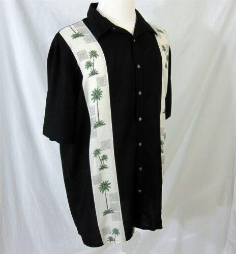 Rayon shirt grote zwarte lange Guayabera Extra Bay crème Batik palmbomen heren XL D2IYeW9EH