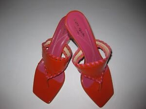 NWOB-Kate-Spade-Orange-Pink-Sandals-Made-in-Italy